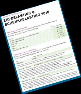 """Weergave van de voorpagina van de brochure """"Tarieven en vrijstellingen voor erfbelasting en schenkbelasting 2018""""."""