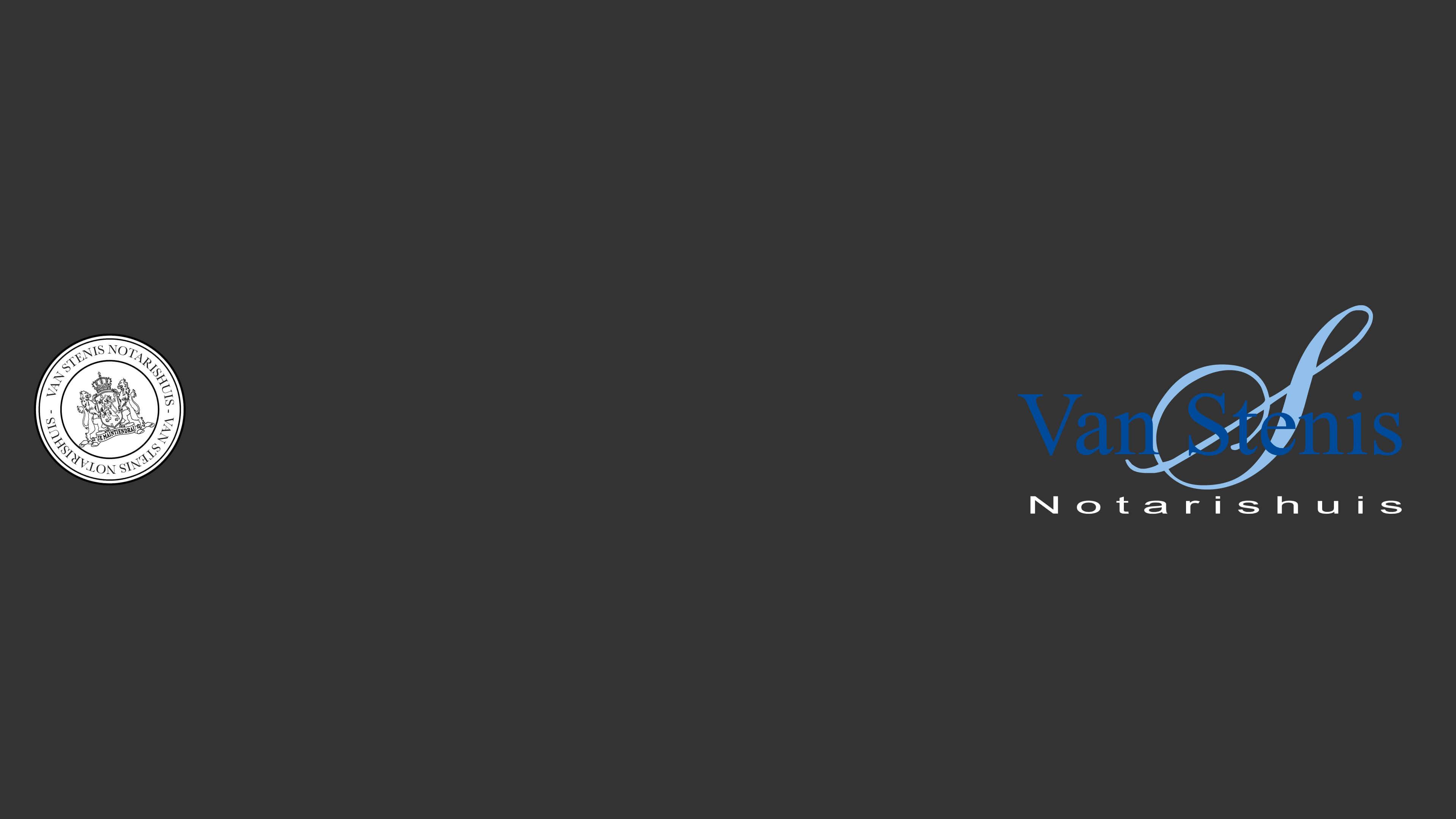 Afbeelding van een zegel en van het logo van Van Stenis Notarishuis.