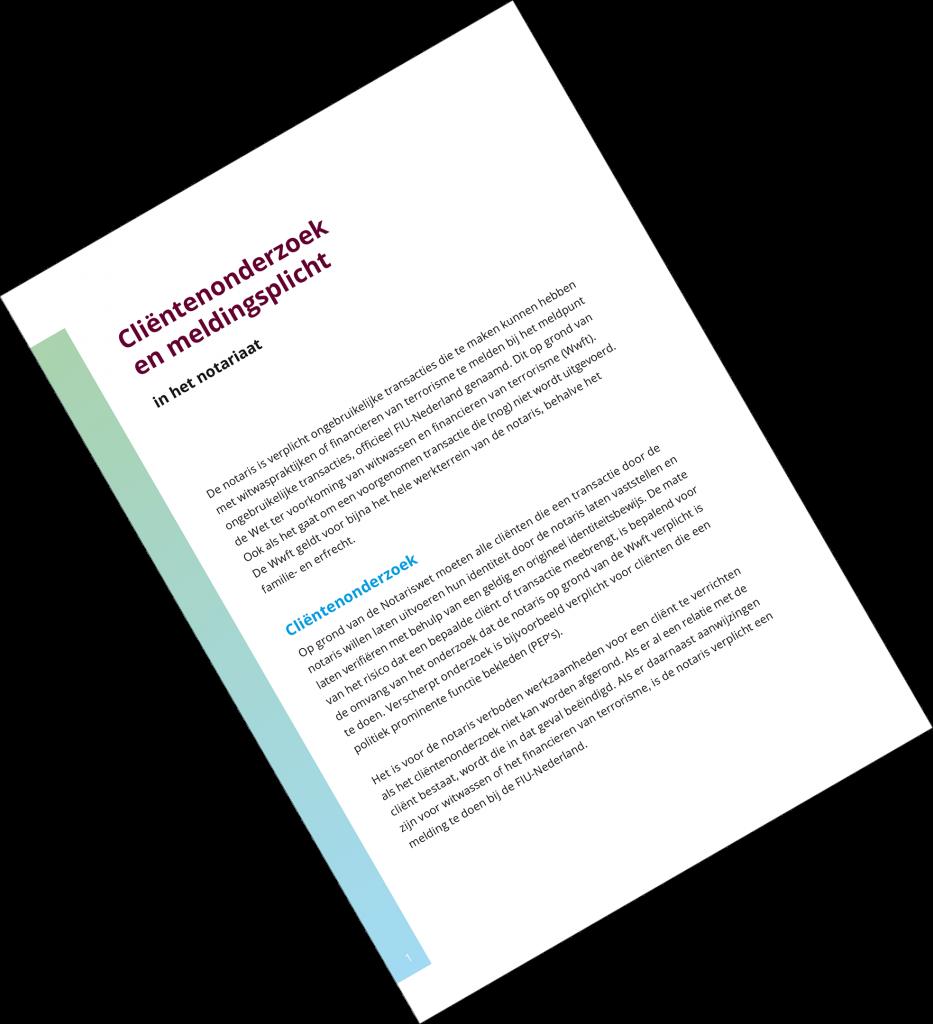 """Afbeelding van de voorkant van de brochure """"Cliëntenonderzoek en meldingsplicht in het notariaat""""."""